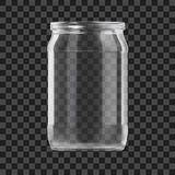 Realistic Empty Glass Jar Isolated On Dark Background stock photography