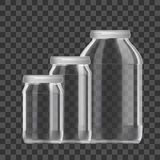 Realistic Empty 3L Glass Jar Set Isolated On White Background stock image
