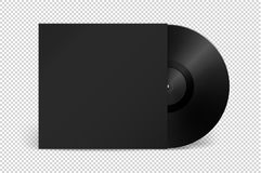 Realistic empty music gramophone vinyl LP record with cover icon. Realistic empty music gramophone vinyl LP record with cover icon closeup isolated on Stock Images