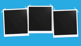 Realistic empty photo black blank frames batch mockup glued with tape. Make it with gradient mesh tool illustration. Vector royalty free illustration