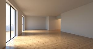 Realistic Empty Room With Big WIndow Doors In Sunny Day.3D Rende. Realistic Empty Room With Big WIndow Doors And Wooden Floor In Sunny Day.3D Rendering Royalty Free Stock Photography