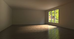 Realistic Empty Room With Green Tree Outside. 3D Rendering. Realistic Empty Room With Green Tree Outside In Sunny Day. 3D Rendering Royalty Free Stock Images