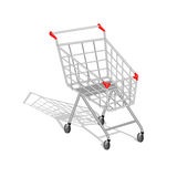 Realistic empty shopping cart with shadow on white background Stock Photography