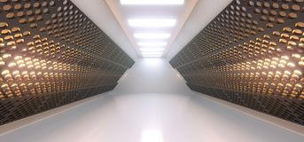 Realistic Empty White Corridor With Grid Mesh Walls And Lights. 3D Rendering Of Realistic Empty White Corridor With Grid Mesh Walls And Lights Royalty Free Stock Photography