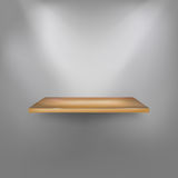 Realistic empty wooden shelf on the wall Stock Photos