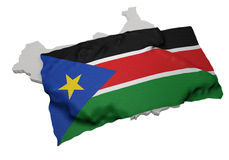 Realistic ensign covering the shape of South Sudan Royalty Free Stock Photos