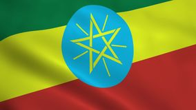 Realistic Ethiopia flag. Waving in the wind. Seamless looping stock video