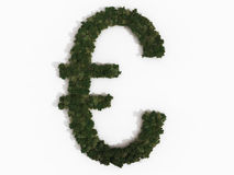 Realistic Euro sign made of various trees. Computer generated illustration of a euro sign. The symbol is made up of various types of trees, and casts a shadow Royalty Free Stock Photography