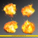 Realistic explosion set. Vector illustration. EPS 10 vector illustration