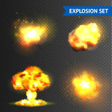 Realistic Explosions Set Royalty Free Stock Photography