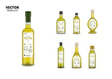 Realistic extra virgin olive oil glass bottles. With labels. Layout of food identity branding, modern packaging design. Traditional healthy product, organic stock illustration