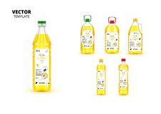 Realistic extra virgin sunflower oil bottles. Realistic extra virgin sunflower oil plastic bottles with labels. Layout of food identity branding, modern stock illustration