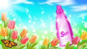 Realistic fabric softener spring landscape green grass blue sky light background tulip flower butterfly sakura cherry. Blossom. 3d laundry household detergent stock illustration