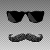 Realistic fake mustache with glasses Royalty Free Stock Photography