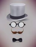 Realistic Fake Retro Gentleman vector illustration. Fake Retro Gentleman, Glasses, Moustache Vector Illustration Royalty Free Stock Images