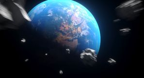Realistic Falling Asteroids To The Earth. 3D Rendering Of Realistic Falling Asteroids To The Earth The Elements Of This Image Furnished By NASA For Textures Stock Image