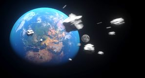 Realistic Falling Asteroids To The Earth. 3D Rendering Of Realistic Falling Asteroids To The Earth The Elements Of This Image Furnished By NASA For Textures stock illustration