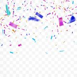 The realistic Falling of  shiny confetti glitters in colorful  on a transparent background. The realistic Falling of  shiny confetti glitters in colorful. New Royalty Free Stock Image