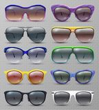 Realistic fashion sunglasses and glasses isolated vector set. Illustration of sunglasses and eyeglasses protection collection Royalty Free Stock Photo