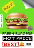 Realistic Fast Food Advertising Poster royalty free stock photos