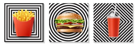 Realistic Fast Food Concept royalty free illustration