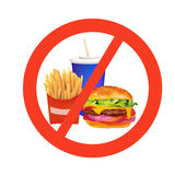 Realistic fast food danger isolated illustration Royalty Free Stock Photography