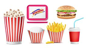 Realistic Fast Food Icons Set Vector. French Fries, Coffee, Hamburger, Cola, Tray Salver, Popcorn. Isolated Illustration. Fast Food Icons Set Vector. French Stock Photography