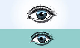 Realistic female blue eye close up wide open. Realistic female eye close up wide open Royalty Free Stock Photography