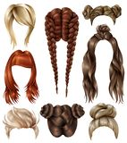 Realistic Female Hairstyles Set. Set of realistic female hairstyles with haircuts, youth coiffures, long flowing hair, french braids isolated vector illustration Stock Images