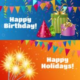 Realistic Festive Accessories Banners. Horizontal banners with realistic festive accessories including gift boxes, streamers, sparklers, flags, party hats Royalty Free Stock Photo