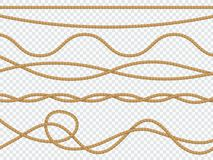 Realistic fiber ropes. Curve rope nautical cord straight lasso marine border brown jute twine natural tied packthread royalty free illustration