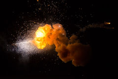 Realistic fiery explosion. Over a black background Royalty Free Stock Photo