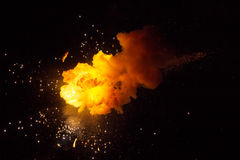 Realistic fiery explosion. Over a black background Stock Photo