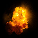 Realistic fiery explosion. With sparks over a black background Royalty Free Stock Photography