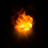 Realistic fiery explosion. With sparks over a black background Royalty Free Stock Photo