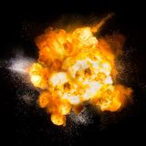 Fireball: explosion, detonation. Realistic fiery explosion with sparks over a black background Royalty Free Stock Photography