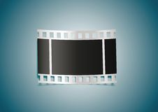 Realistic film reel on blue background Royalty Free Stock Images