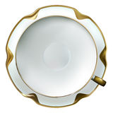 Realistic fine china white cup and saucer with gold rim. In a shape of flower on white background Stock Photos