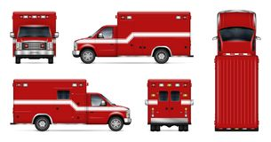 Realistic fire engine vector illustration. Fire truck vector mockup on white background. Isolated template of rescue van for vehicle branding, corporate identity Royalty Free Stock Photography