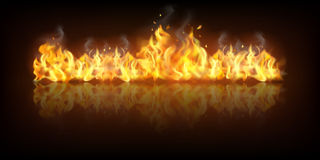Realistic Fire Flame Banner. Realistic colorful image line bon fire flame with horizontal reflection smoke and sparks on black background vector illustration Royalty Free Stock Images