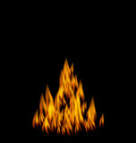 Realistic Fire Flame on Black Background. Illustration Realistic Fire Flame on Black Background - Vector Stock Photo