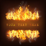 Realistic Fire Flame Illustration. Realistic fire flame with reflection sparkles and place for text on black background vector illustration Royalty Free Stock Photo
