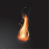 Realistic fire flame. Vector illustration. Transparent background Stock Photo