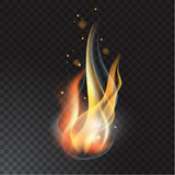Realistic fire flame. Vector illustration. Transparent background Stock Image