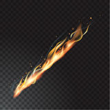 Realistic fire flame. Vector illustration. Transparent background Stock Images