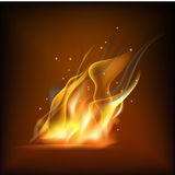 Realistic fire flame. Vector illustration. Warm brown background Stock Image