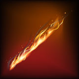 Realistic fire flame. Vector illustration. Warm brown background Stock Photography