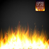 Realistic fire flame vector special effect isolated on transparent background. Stock Image