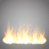 Realistic fire flame vector special effect isolated on transparent background. Realistic fire flame vector special effect isolated on dark transparent Stock Photo