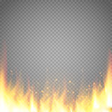 Realistic fire flame vector special effect isolated on transparent background. Stock Photo